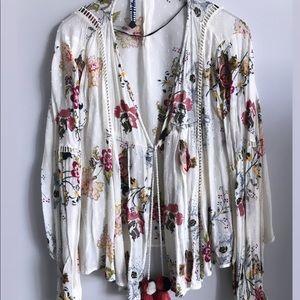 Zara boho floral sheer open blouse cardigan